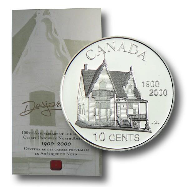 10 Cent Kanada - Desjardins Credit Union Silbermünze (2000) PP - OVP