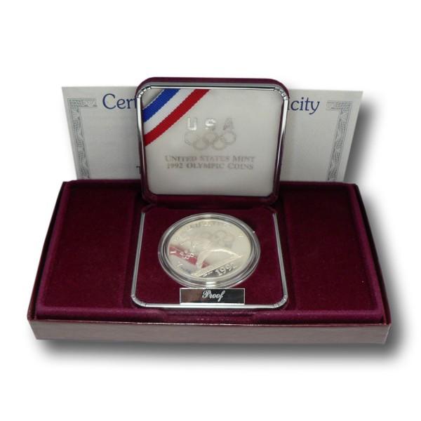 1 Dollar USA - Olympia Barcelona -Baseball Silbermünze (1992) PP