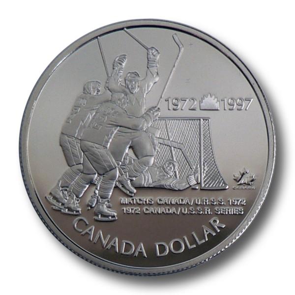 1 Dollar Kanada - 25 Jahre Eishockey Sieg gegen U.S.S.R Silbermünze (1997) PP