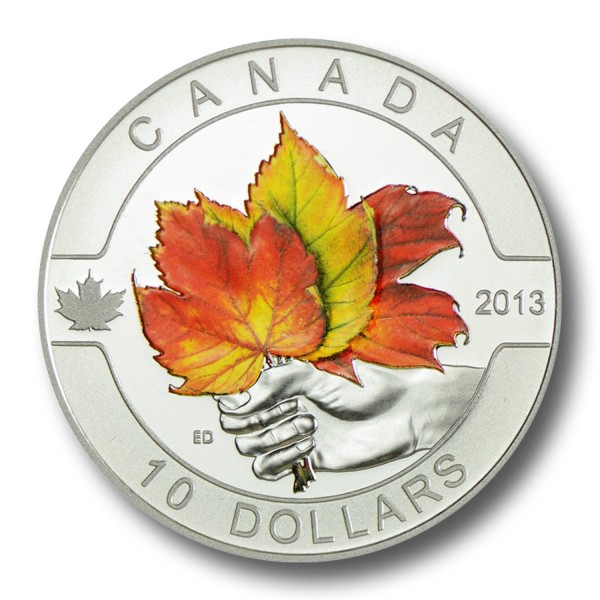 10 Dollar Kanada - O Canada - Maple Leaf 1/2 oz Silbermünze (2013) PP coloriert