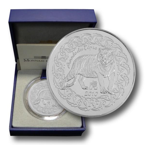 5 Euro Frankreich - Jahr des Tigers Silbermünze (2010) PP - OVP