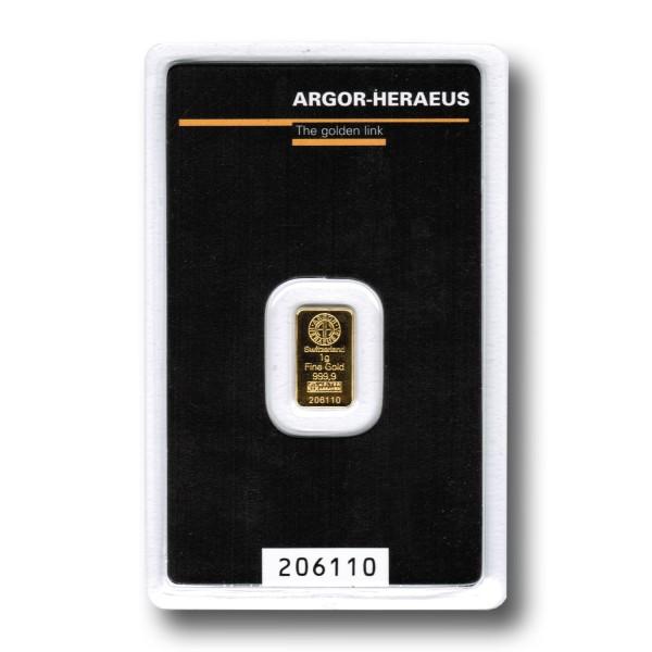 1 g Goldbarren (Argor-Heraeus Schweiz / Heraeus)