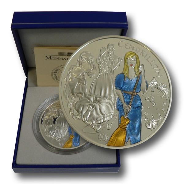 1,5 Euro Frankreich - Cinderella/ Aschenbrödel Silbermünze (2002) PP - coloriert - OVP