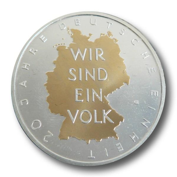 10 Euro BRD - 20 Jahre Deutsche Einheit Silbermünze (2010) - teilvergoldet