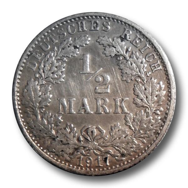 1/2 Mark - Kaiserreich Silber Münze - J.16 (div. JG)