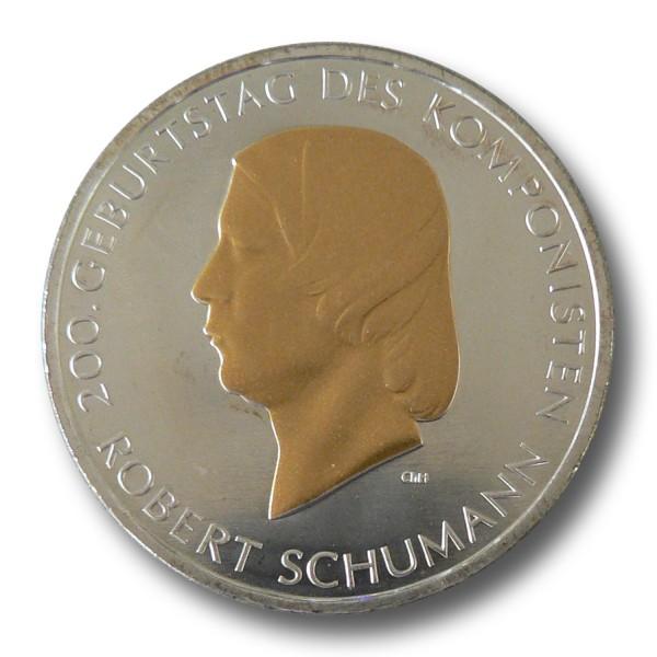 10 Euro BRD - 200. Geburtstag Robert Schumann Silbermünze (2010) - teilvergoldet