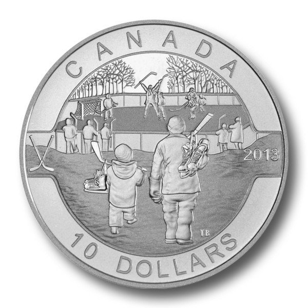 10 Dollar Kanada - O Canada - Hockey 1/2 oz Silbermünze (2013) PP