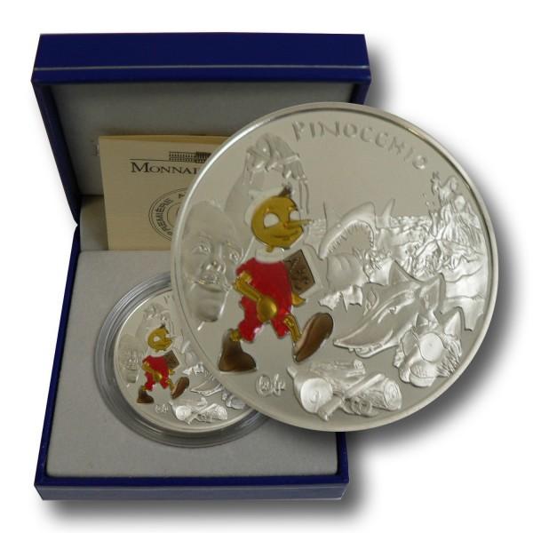 1,5 Euro Frankreich - Pinocchio Silbermünze (2002) PP - coloriert - OVP