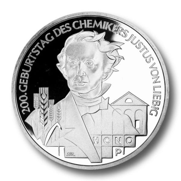 10 Euro BRD - 200. Geburtstag Justus Liebig Silbermünze (2003)