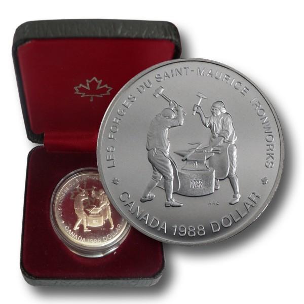 1 CAD Kanada - Schmiede in Saint Maurice Silbermünze (1988) PP - OVP