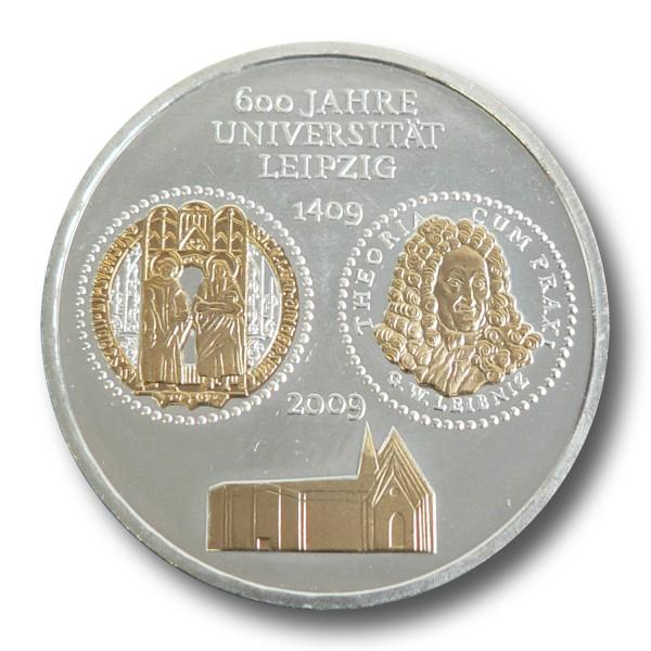 10 Euro BRD - 600 Jahre Universität Leipzig Silbermünze (2009) - teilvergoldet