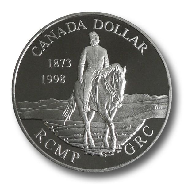 1 Dollar Kanada - 125 Jahre Berittene Polizei Silbermünze (1998) PP