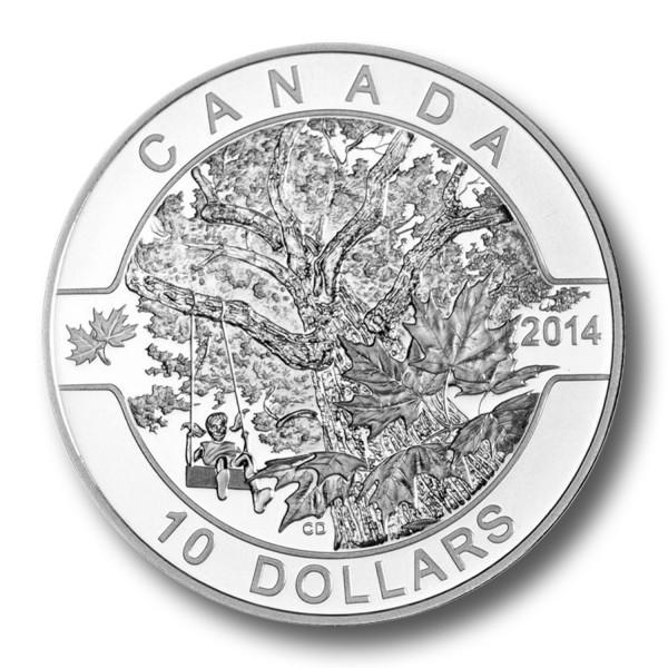 10 Dollar Kanada - O Canada - Ahornbaum 1/2 oz Silbermünze (2014) PP