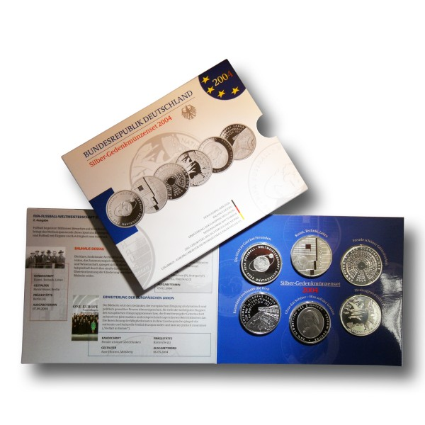 10 Euro BRD - Gedenkmünzen - Komplettsatz - 925 Silber - PP (2004)