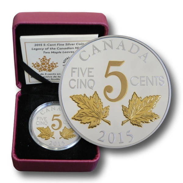 5 Cents Kanada - Legacy of the Canadian Nickel - Two Maple Leaves Silber (2015) PP