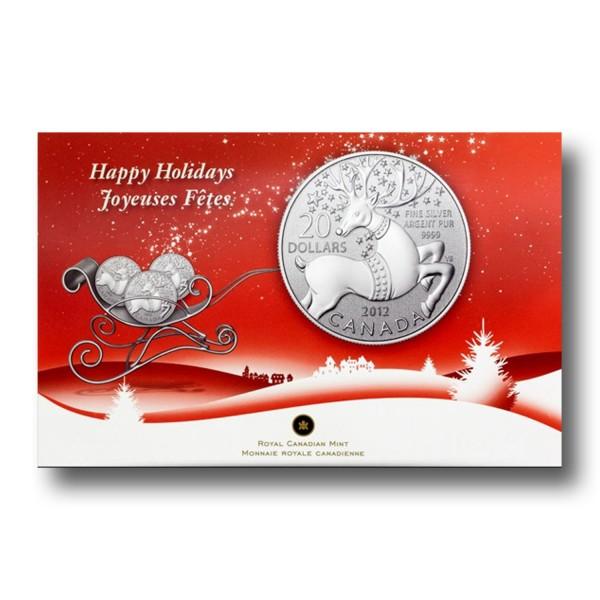 20 Dollar Happy Holidays Kanada Rentier Silber Münze (2012)