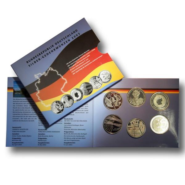 10 Euro BRD - Gedenkmünzen - Komplettsatz - 925 Silber - PP (2003)