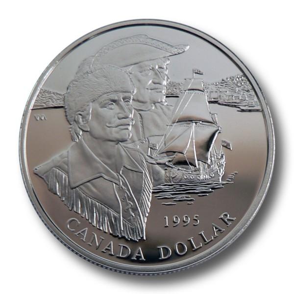 1 Dollar Kanada - 325 Jahre Hudson Bay Company Silbermünze (1995) PP