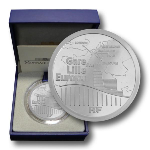 20 Euro Frankreich - Lille Europe TGV Silber Piedfort (2010) PP - OVP