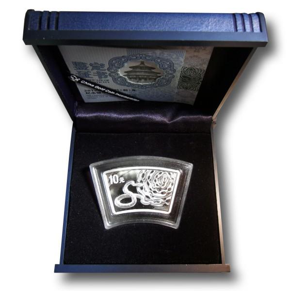10 Yuan Lunar Schlange China 1 oz Silbermünze (2013) PP Ringbarren