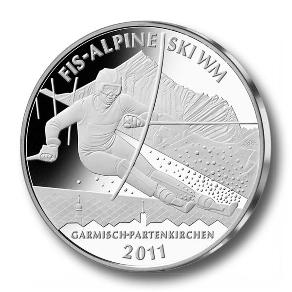 10 Euro BRD - Alpine Ski WM Garmisch-Partenkirchen Silbermünze (2010) - PP