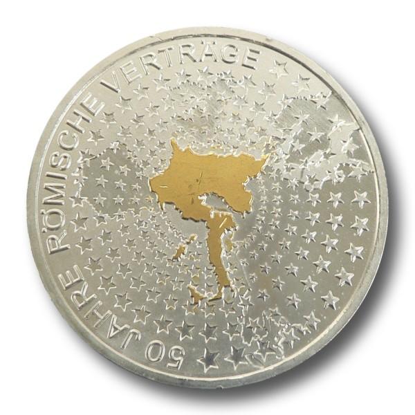 10 Euro BRD - 50 Jahre Römische Verträge Silbermünze (2007) - teilvergoldet